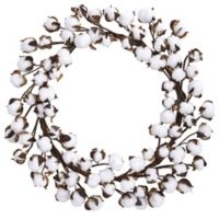 Nearly Natural 20-Inch Cotton Ball Wreath