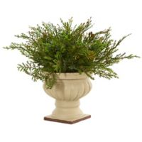 Nearly Natural 15-Inch Cedar and Blueberry Plant in Beige Urn