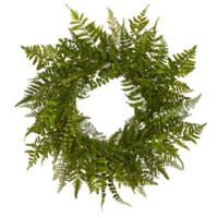 Nearly Natural 24-Inch Mixed Fern Wreath in Green