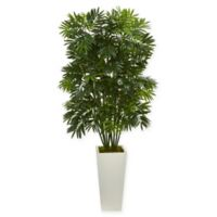 Nearly Natural 49-Inch Mini Bamboo Palm Tree in White Tower Planter