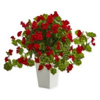 Nearly Natural 27-Inch Red Geranium Plant in White Tower Vase