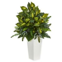 Nearly Natural 35-Inch Mixed Emerald Philodendron Plant in White Tower Vase