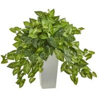 Nearly Natural 28-Inch Nephthytis Plant in White Tower Vase