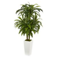 Nearly Natural Marginatum Artificial Plant with White Tower Vase
