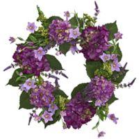 Nearly Natural 24-Inch Hydrangea Wreath in Purple