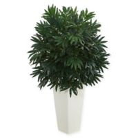 Nearly Natural Double Bamboo Palm Artificial Plant with White Tower Vase