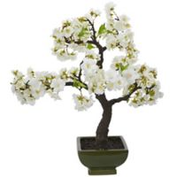 Nearly Natural Artifical Cherry Blossom Bonsai Tree in Dark Green Planter