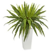 Nearly Natural Rippled Birdsnest Artificial Plant with White Tower Vase