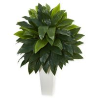 Nearly Natural Cordyline Artificial Plant with White Tower Vase