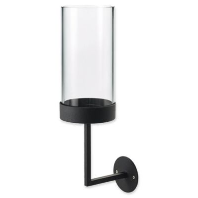 Blomus Nero Large Hurricane Candle Wall Sconce In Black