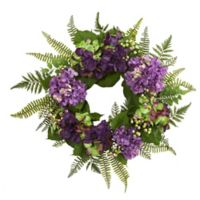 Nearly Natural 24-Inch Hydrangea and Berry Wreath in Purple