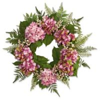 Nearly Natural 24-Inch Hydrangea and Berry Wreath in Pink