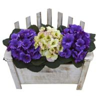 Nearly Natural 10.5-Inch African Violet Arrangement in Wooden Bench Planter in Purple/Multi