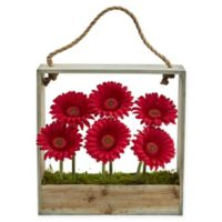 Nearly Natural 12-Inch Red Daisy Artificial Arrangement with Wooden Frame