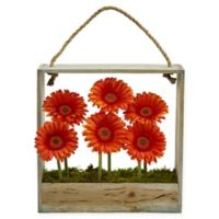 Nearly Natural 12-Inch Orange Daisy Artificial Arrangement with Wooden Frame