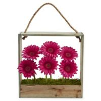 Nearly Natural 12-Inch Pink Daisy Artificial Arrangement with Wooden Frame