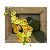 Nearly Natural 10-Inch Phalaenopsis Orchid Wall Mount Arrangement with Wood Frame in Yellow
