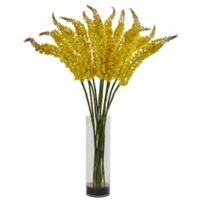 Nearly Natural 46-Inch Artifical Foxtail Floral Arrangement with Clear Vase in Yellow