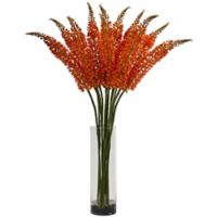 Nearly Natural 46-Inch Artifical Foxtail Floral Arrangement with Clear Vase in Orange