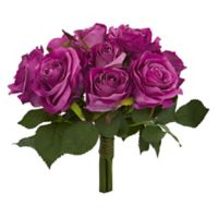 Nearly Natural 10-Inch Artificial Rose Bush in Purple (Set of 2)