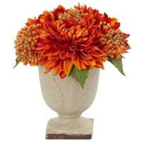 Nearly Natural 12-Inch Mum Arrangement with Decorative Planter in Orange