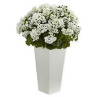 Nearly Natural Artifical Geranium Plant with Tapered Planter in White
