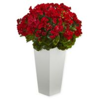 Nearly Natural Artifical Geranium Plant with Tapered Planter in Red