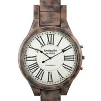 Yosemite Home Décor Antiquite Distressed Wristband Wall Clock in Brown