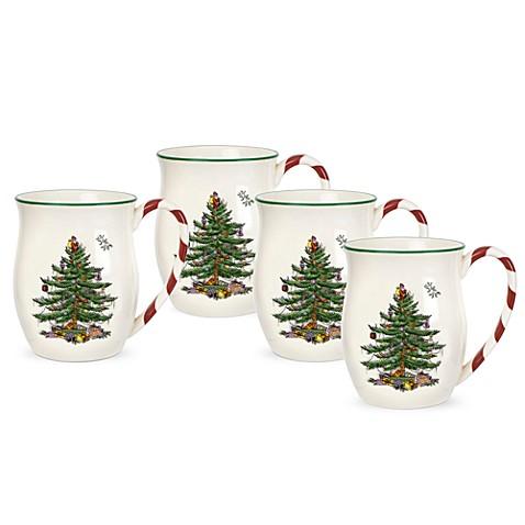 spode christmas tree candy cane handle mugs set of
