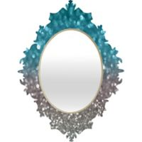 Deny Designs Aqua and Grey Baroque Medium Wall Mirror