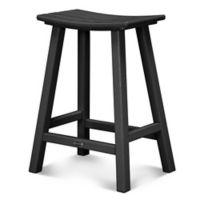 POLYWOOD® South Beach 24-Inch Saddle Bar Stool in Black