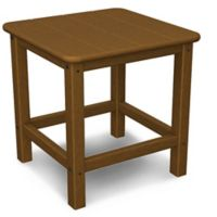 POLYWOOD® 18-Inch Seashell Side Table in Teak