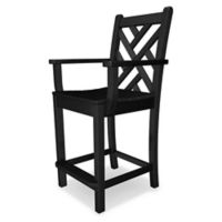 POLYWOOD® Chippendale Counter Arm Chair in Black