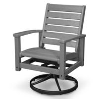 POLYWOOD® Signature Swivel Rocking Chair in Black/Slate Grey