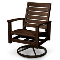 POLYWOOD® Signature Swivel Rocking Chair in Mahogany/Bronze
