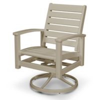 POLYWOOD® Signature Two-Tone Swivel Rocking Chair in Tan/Sand