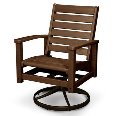 Polywood Signature Two Tone Swivel Rocking Chair In Bronze Teak