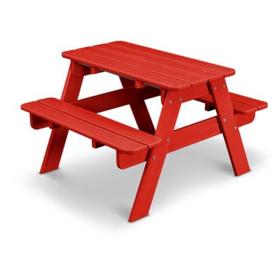 POLYWOOD® 30 Inch Kidsu0027 Picnic Table In Sunset Red