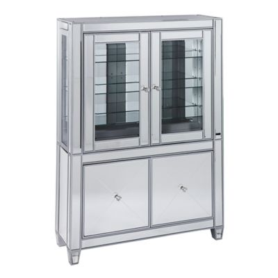 Southern Enterprises Mirage Mirrored Lighted Curio Cabinet