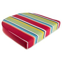 Stripe Outdoor Wicker Seat Cushion in Cherry