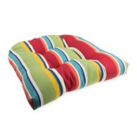 Stripe U Rounded Back Wicker Indoor/Outdoor Chair Cushion in Cherry