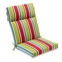 Stripe Outdoor High Back Chair Cushion In Cherry