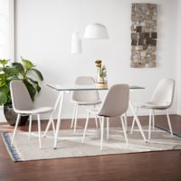 Southern Enterprises Haynes 5-Piece Glass Dining Set in White