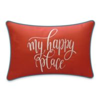 "Destination Summer ""My Happy Place"" Outdoor Oblong Throw Pillow in Coral"