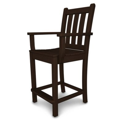 POLYWOOD® Traditional Garden Counter Arm Chair In Mahogany