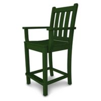 POLYWOOD® Traditional Garden Counter Arm Chair in Green
