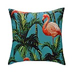 Destination Summer Flamingo Reversible Square Indoor/Outdoor Throw Pillow in Aqua/Multi