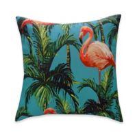 Destination Summer Flamingo Reversible Square Indoor/Outdoor Throw Pillow in Aqua/Multi