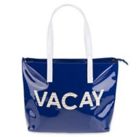 "Vintage Summer ""Vacay"" Beach Tote in Blue"