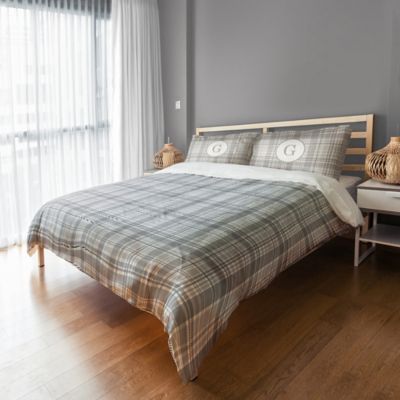 Designs Direct Plaid King Duvet Cover In Grey